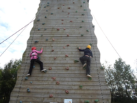 Outdoors on Climbing Wall